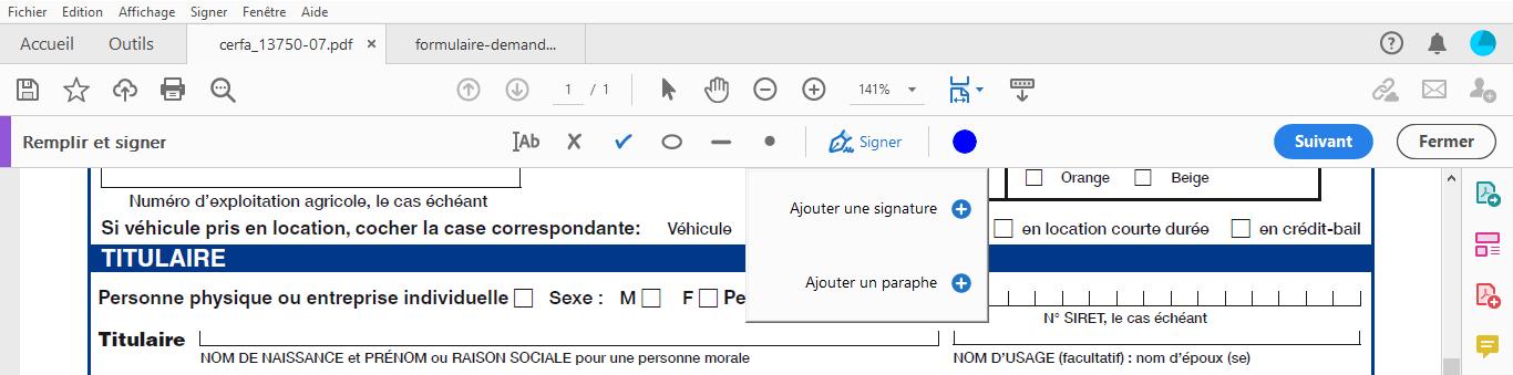 document pdf - ajouter une signature